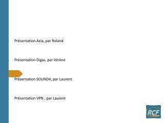 Présentation Axia, par Roland Présentation Digas, par Vérène Présentation SOUND4, par Laurent