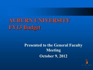 AUBURN UNIVERSITY FY13  Budget