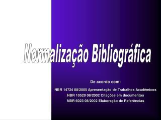 Normalização Bibliográfica