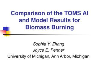 Comparison of the TOMS AI and Model Results for Biomass Burning