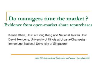 Do managers time the market ? Evidence from open-market share repurchases