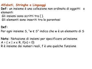 Alfabeti, Stringhe e Linguaggi