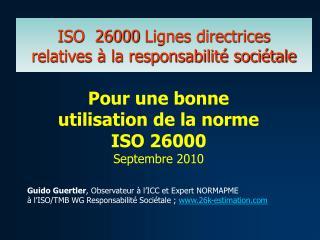 ISO  26000 Lignes directrices  relatives   la responsabilit  soci tale