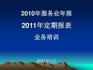 2010 年服务业年报 2011 年定期报表 业务培训 2011 年 1 月