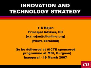 INNOVATION AND TECHNOLOGY STRATEGY