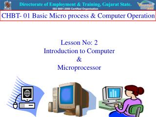 Lesson No: 2 Introduction to Computer  &  Microprocessor