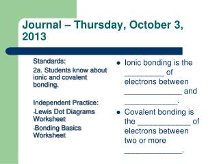 Journal – Thursday, October 3, 2013