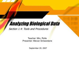 Analyzing Biological Data