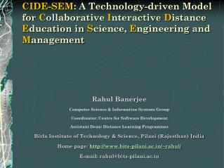 CIDE-SEM: A Technology-driven Model for Collaborative Interactive Distance Education in Science