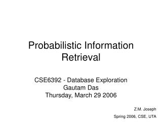 Probabilistic Information Retrieval