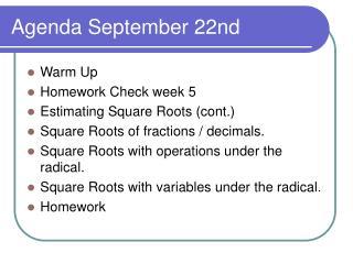 Agenda September 22nd