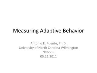 Measuring Adaptive Behavior