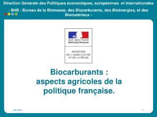 Biocarburants : aspects agricoles de la politique française.