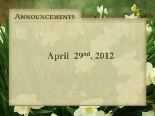 April   29 nd , 2012