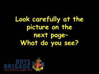 Look carefully at the picture on the  next page–  What do you see?