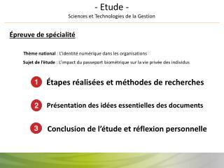- Etude - Sciences et Technologies de la Gestion