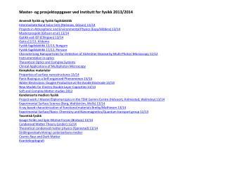 Andre institusjoner i samarbeid med Institutt for fysikk