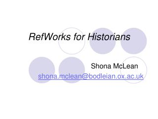 RefWorks for Historians