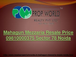 Mahagun Mezzaria Resale Price 09810000375 Sector 78 Noida