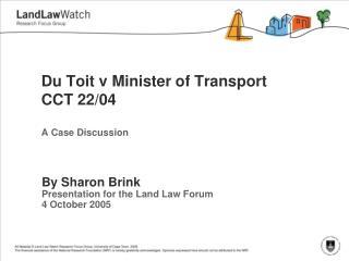 Du  Toit  v Minister of Transport CCT 22/04