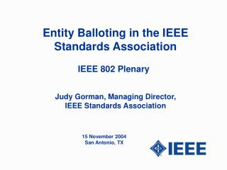 Entity Balloting in the IEEE Standards Association
