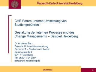 """CHE-Forum """"Interne Umsetzung von Studiengebühren"""""""