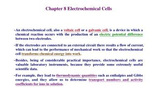 Chapter 8 Electrochemical Cells
