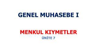 GENEL MUHASEBE I
