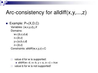 Arc-consistency for alldiff(x,y,...,z)