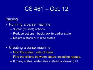 CS 461 – Oct. 12