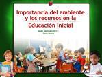Importancia del ambiente y los recursos en la  Educaci n Inicial