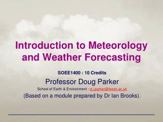 Introduction to Meteorology and Weather Forecasting