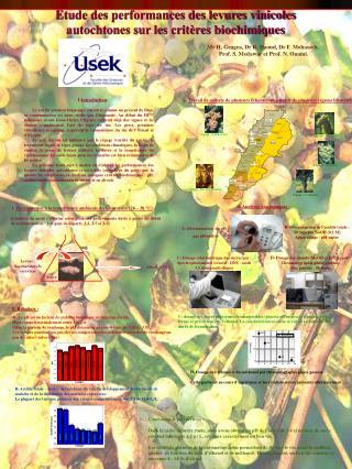 Etude des performances des levures vinicoles autochtones sur les critères biochimiques