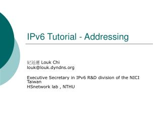 IPv6 Tutorial - Addressing
