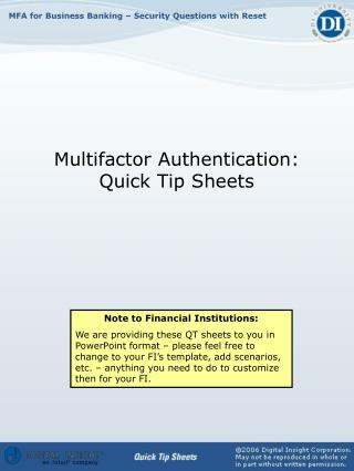 Multifactor Authentication: Quick Tip Sheets