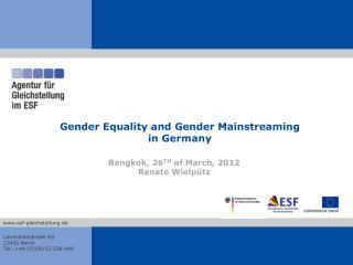 Gender Equality and Gender Mainstreaming  in Germany