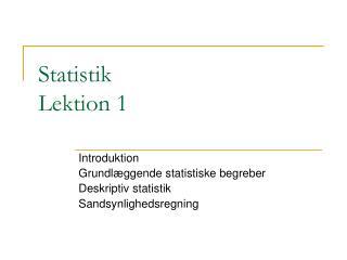 Statistik Lektion 1