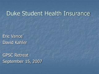 Duke Student Health Insurance
