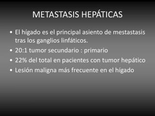 METASTASIS HEPÁTICAS