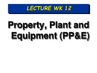 LECTURE WK 12