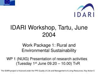 IDARI Workshop, Tartu, June 2004