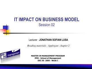 IT IMPACT ON BUSINESS MODEL Session 02