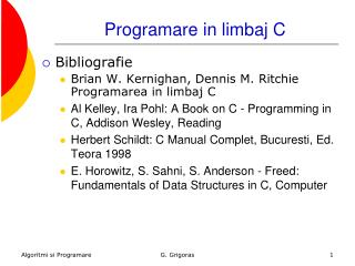 Programare in limbaj C