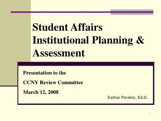 Student Affairs Institutional Planning & Assessment