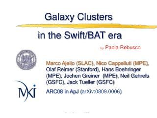 Galaxy Clusters  in the Swift/BAT era