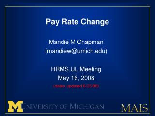 Pay Rate Change