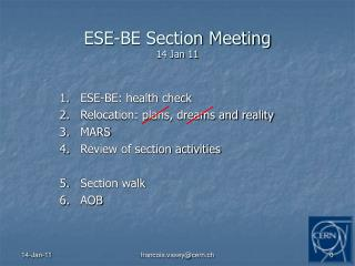 ESE-BE Section Meeting 14 Jan 11
