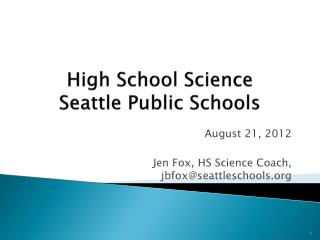 High School Science Seattle Public Schools