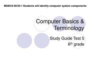 Computer Basics & Terminology