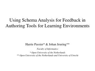 Using Schema Analysis for Feedback in Authoring Tools for Learning Environments